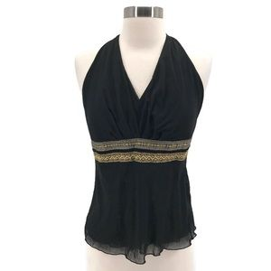 The Limited Black Halter Top Gold Ribbon Detail
